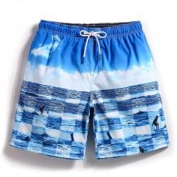 Short Céu e Mar Azul Estampado Casual Alegre Masculino Listrado