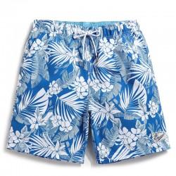 Bermuda Média Floral para Homens Casual Moda Havaiana Verão