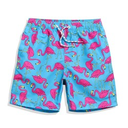 Short For Pool Flamingo Print Casual Men Pink Heron