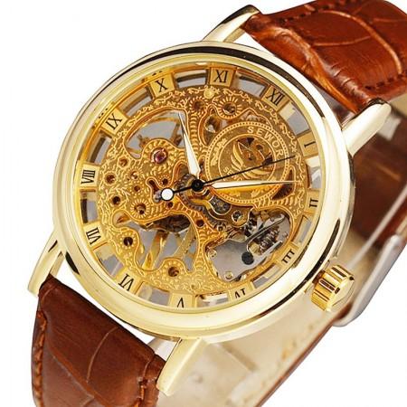 Relógio Clássico Automático Mecânico Masculino Esqueletico Barato.