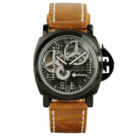 Men's Watch Military Black Casual Leather Automatic Mechanical