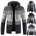 Men's Cold Coat Striped Long Sleeve Fashionable Winter Fashion