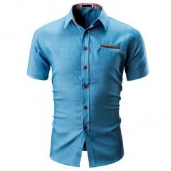 Camisa Casual Manga Curta Masculina Nova Moda Senhores Jeans de Botão