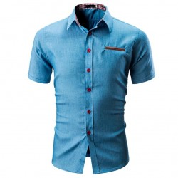 Men's Casual Short Sleeve Fashion Shirt New Fashion Ladies Button Jeans