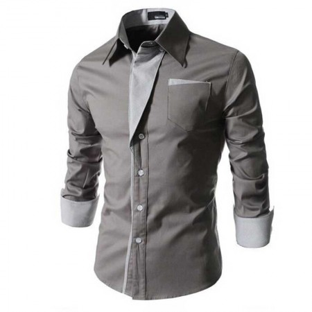 Shirt Casual Elegant Formal Men's Long Sleeve Slim Fit Clean