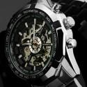 Relógio Masculino Esqueletico Casual Cromado Caixa Grande