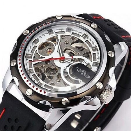 Relógio Casual Elegante Esportivo Esqueletico Automático Preto