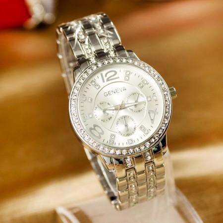 Relógio Feminino de Cristais Classico Fashion em Quartzo Geneva