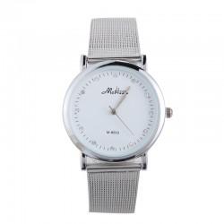 Relógio Feminino Moderno Prata Branco Elegante em Quartzo Sofisticado