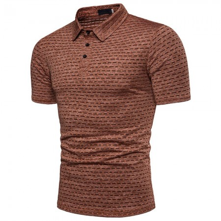 Camisa Masculina Polo Casual Texturizada Sem Estampa Manga Curta