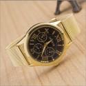Relógio Bracelete Feminino Dourado Elegante Luxo Preto Geneva