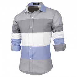 Casual Shirt Patchwork Style Striped Men's Long Sleeve