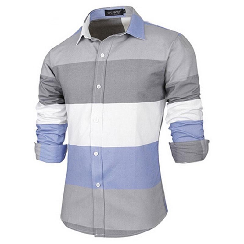 ec663a907c Camisa Casual Estilo Retalhos Listrada Masculina Manga Longa. Loading zoom