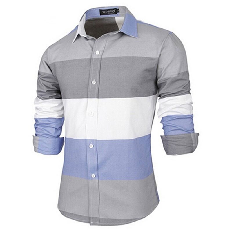 Men's Casual Shirts Long Sleeve Striped Cotton Fitted T-Shirts Man Tops T Shirt
