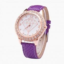 Relogio Fashion Feminino Delicado Diamante Colorido Roxo Lindo