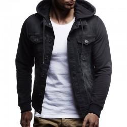 Jaqueta Jeans Masculino Estilo Moletom moda Inverno com Capuz