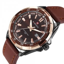 Watch Elegant Men Leather Genuine Naviforce Sophisticated