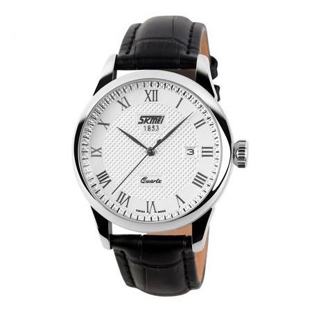 Relógio Clássico Masculino Elegante Formal SKMEI em Couro Calendario
