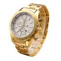 Relógio Luxo Dourado Masculino Elegante Empresarial Grande