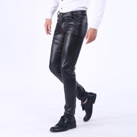 New Fashion Mens Slim Leather Trendy Leather Pants