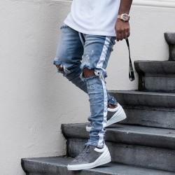 Calça Swag Masculina Jeans Coleção Estampa Listrad Joelho Rasgado