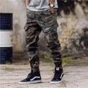 Men's Cropped Pants Military Print Elastic Camouflage