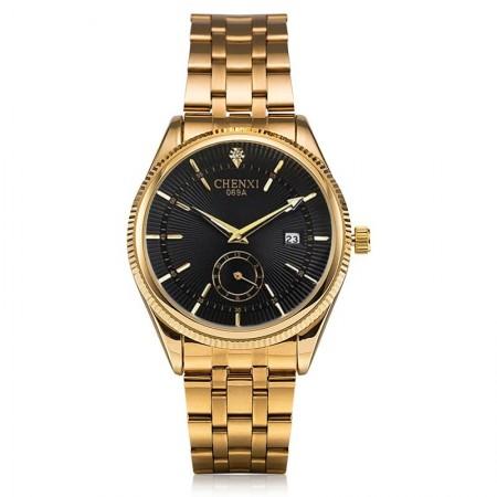Relógio de Luxo Masculino Elegante Ouro Dourado Preto em Quartzo
