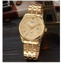 Watch Luxury Men's Elegant Gold Golden Black Quartz