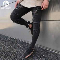 Calça Modelo Rock Masculina Rasgada Com Bolso Estilo Jeans Swag