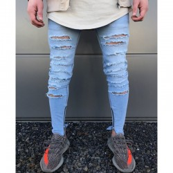 Calça Masculina Jeans Estilo Swag Nova Coleção Rasgada Ziper nas Perna