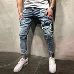 Calça Jeasn Masculina Novo Modelo Com Bolsos Elásticos