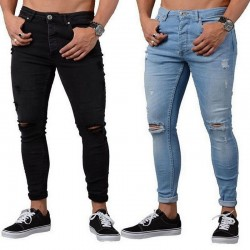 Calça Jeans Masculina Estilo Casual Skinny Nova Moda Rasgada