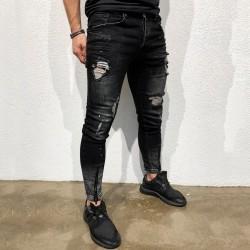 Calça Masculina Novo Jeans Estilo Rasgada Para Festa