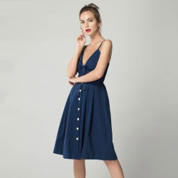 Women's Dresses V Neckline Style Ladies Long Midi Buttons