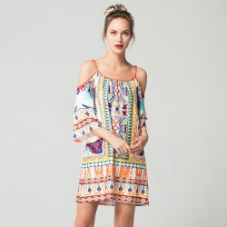Women's Print Dress Short Sleeve Casual Style Beachwear