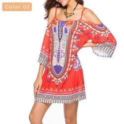 Women's Print Dress Short Sleeve Casual Style Beachwear