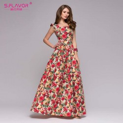 Women's Long Dress Floral Print Gorgeous Model Summer Fashion Roses