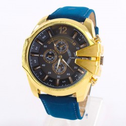 Relógio Masculino Casual Caixa Grande Dourado em Quartzo Inoxidável