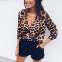 Women's Printed Opaque Leopard Blouse Very Sexy