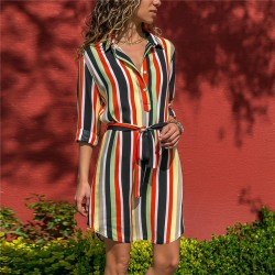 Striped Print Dress New Women's Collection With Bow