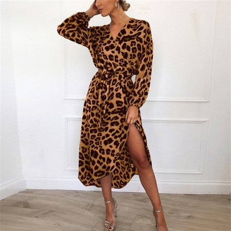 Women's Midi Dress Leopard Print Long Sleeve