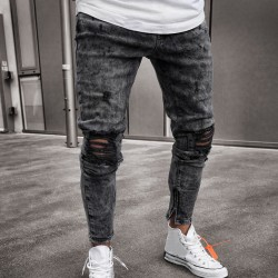Men's Pants New Model Ripped Style Young Swag