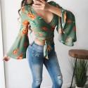 Floral Cropped blouse with lace tied on belly Flare long sleeve