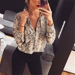 Women's elegant social long sleeve button social printed shirt