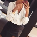 Women's elegant social long sleeve button social printed shirt