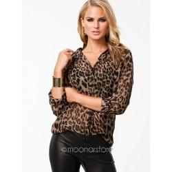 Camisa Casual Feminina Estampa Animal Onça e Leopardo Manga Longa