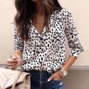 Camisa FWomen's cotton long sleeve print Casual shirteminina Casual Estampa Dalmatas Manga Longa em Algodão