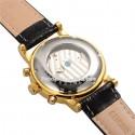 Relógio Elegante Preto Dourado Luxo Masculino em Couro Automático