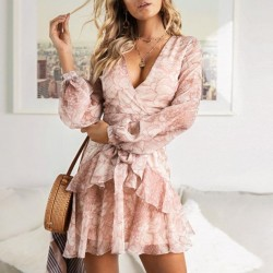 Women's Vintage Chiffon long sleeve dress for outdoor party