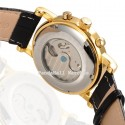 Watch Elegant Black Gold Luxury Men's Automatic Leather